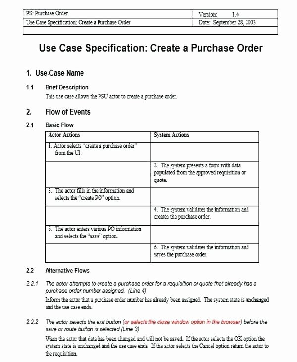 Use Cases Document Template Lovely Use Case form Description Template Word Doc – Rightarrow