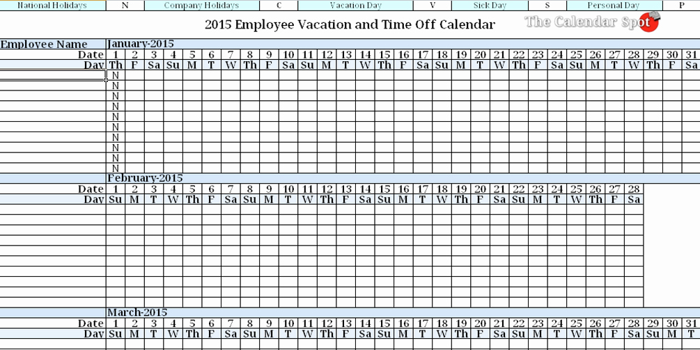 Vacation Calendar Template 2015 Awesome 2015 Employee Vacation Absence Tracking Calendar
