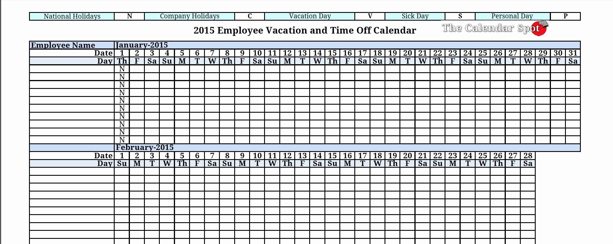 Vacation Calendar Template 2015 Best Of 8 Best Of Vacation Tracker Calendar 2016 Printable