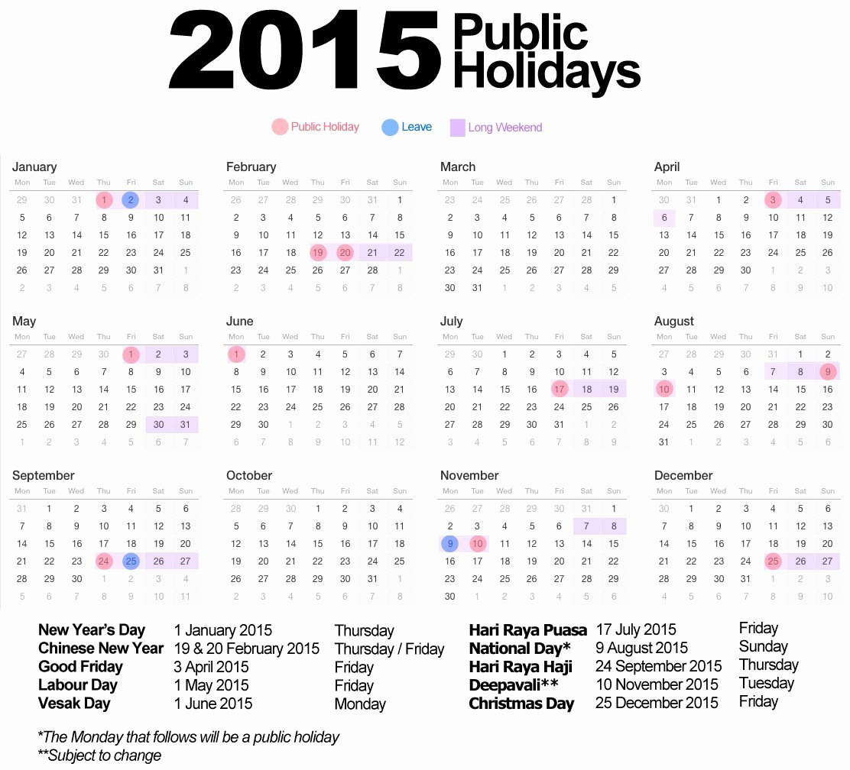 Vacation Calendar Template 2015 Elegant 2015 Holiday Calendar Yangah solen