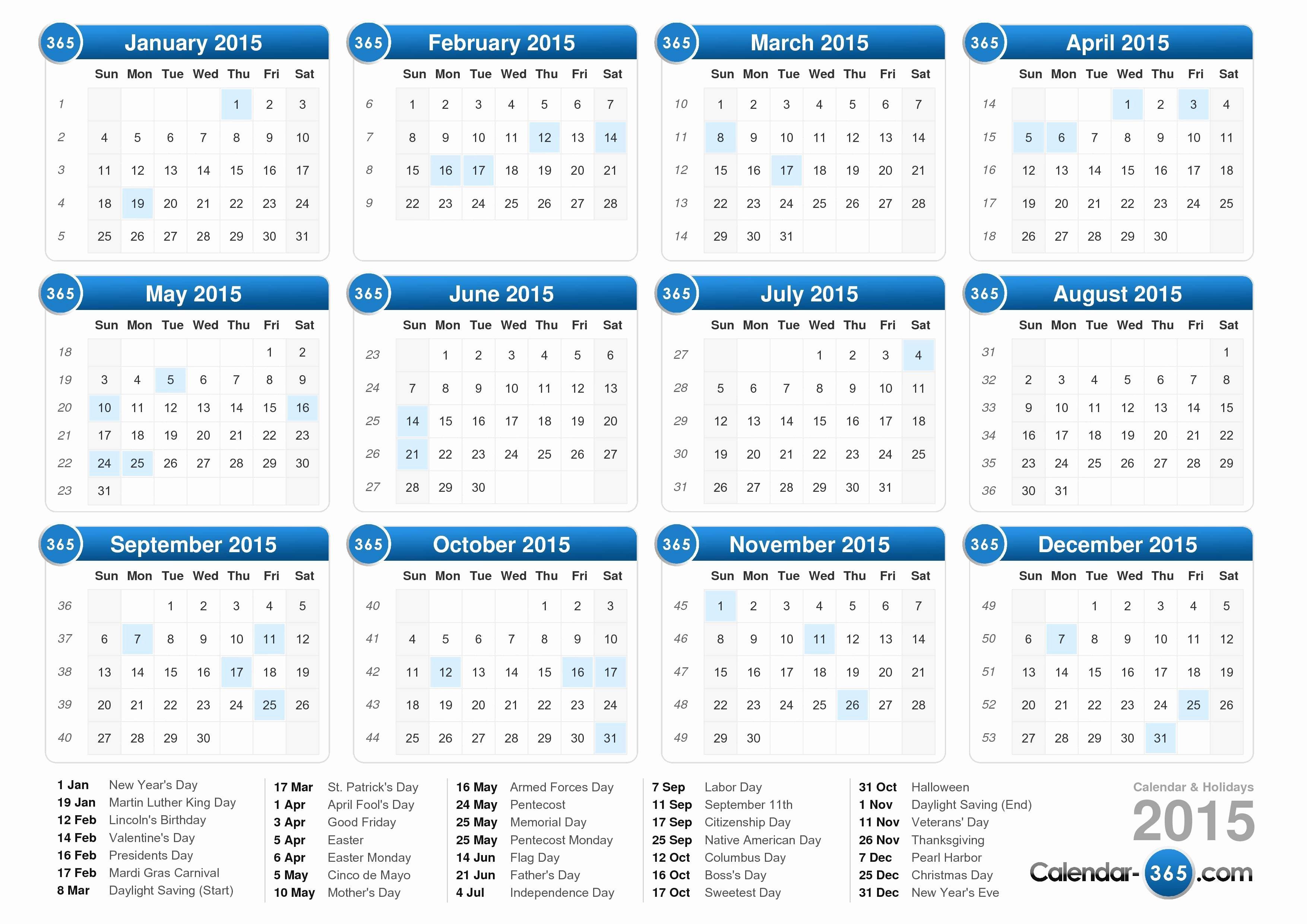 Vacation Calendar Template 2015 Elegant Calendar with Holidays 2015