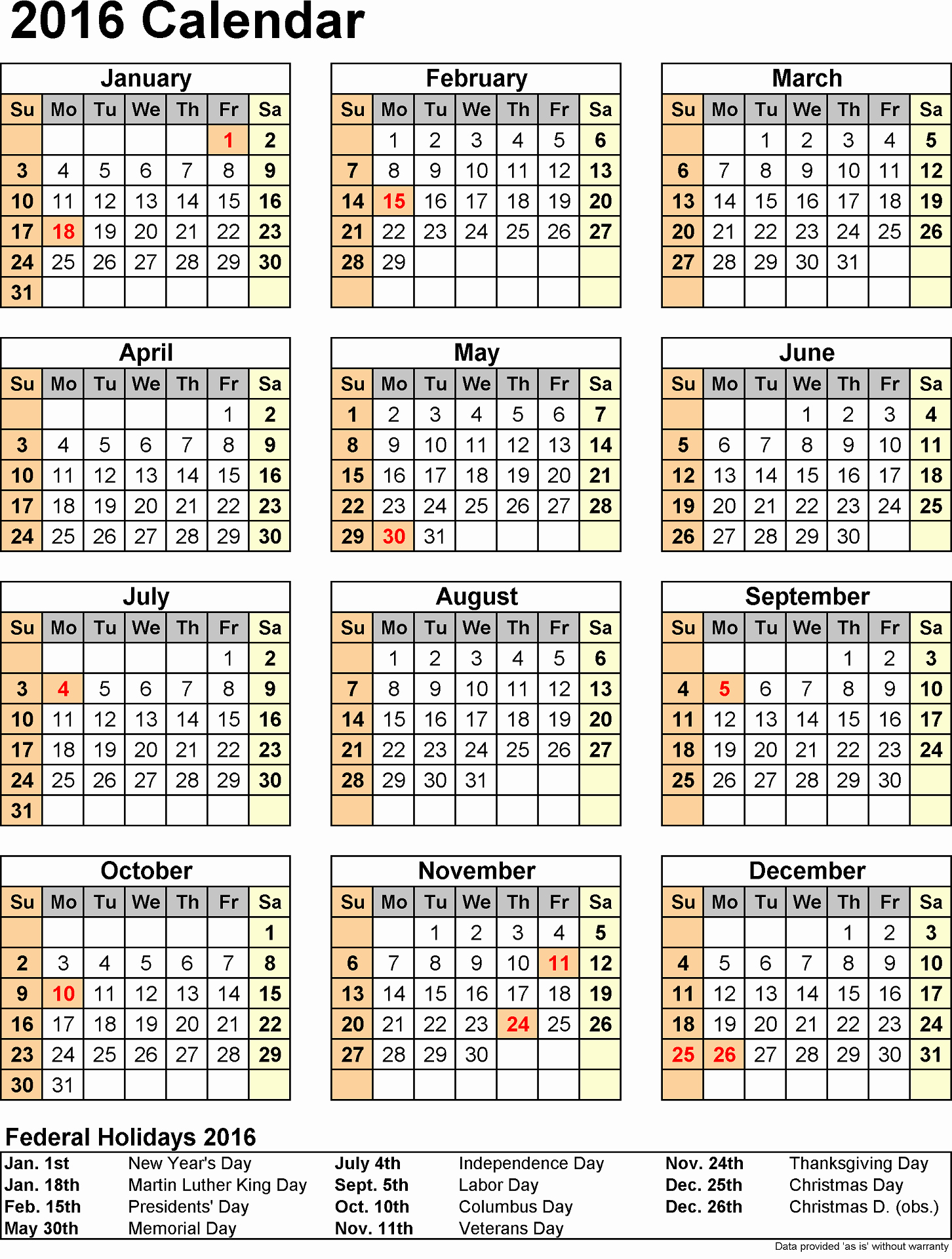 Vacation Calendar Template 2015 Inspirational 2016 Yearly Calendars with Holidays