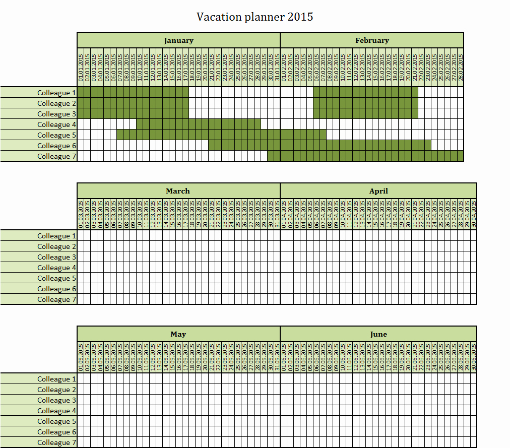 Vacation Calendar Template 2015 Lovely 2015 Employee Vacation Planner