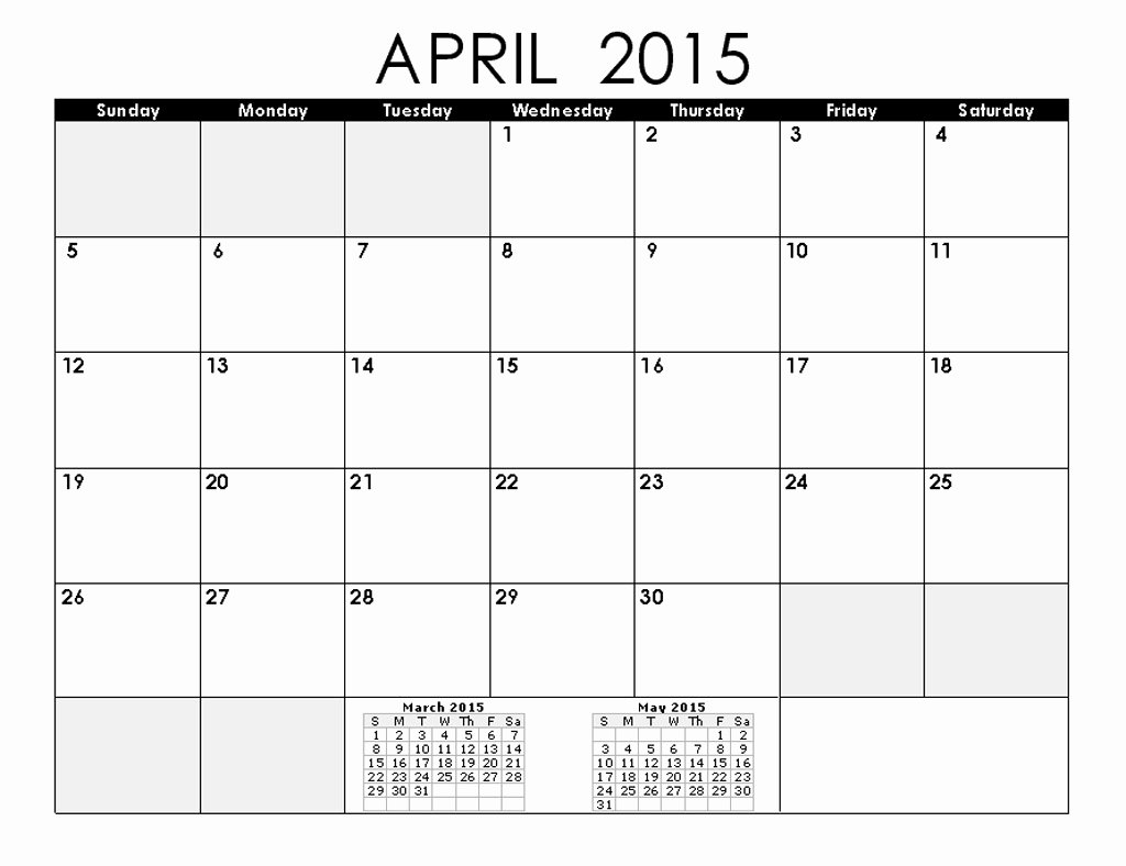 Vacation Calendar Template 2015 Lovely Holiday Of April 2015 Calendar
