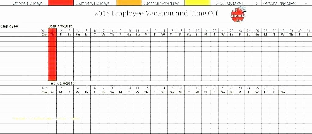 Vacation Calendar Template 2015 Luxury Employee Vacation Tracking Calendar Excel Template 2015