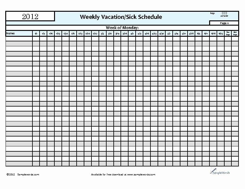 Vacation Calendar Template 2015 Unique 6 Best Of Printable Employee Vacation Calendar