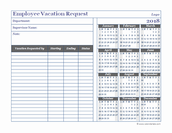 Vacation Calendar Template 2017 Beautiful 2018 Business Employee Vacation Request Free Printable