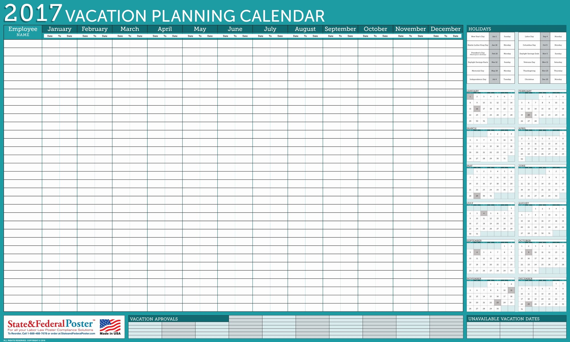 Vacation Calendar Template 2017 Beautiful Fice Wall 2017 Vacation Planner Turquoise 40 X 24 Inches