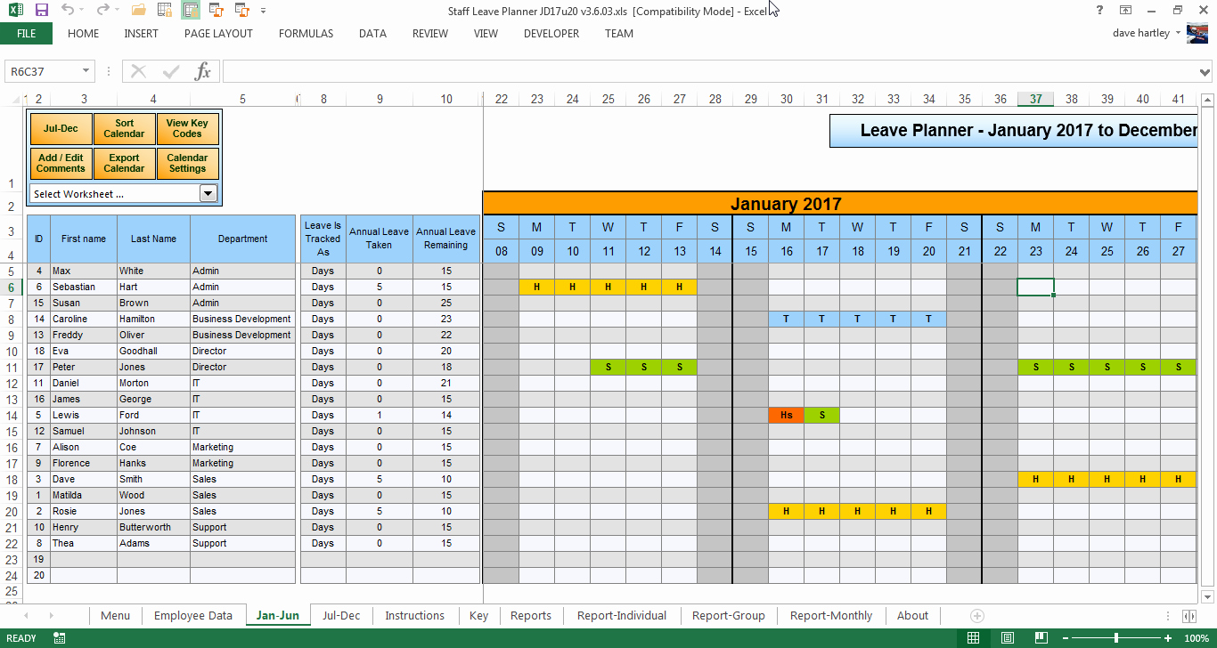 Vacation Calendar Template 2017 Inspirational the Staff Leave Calendar A Simple Excel Planner to Manage
