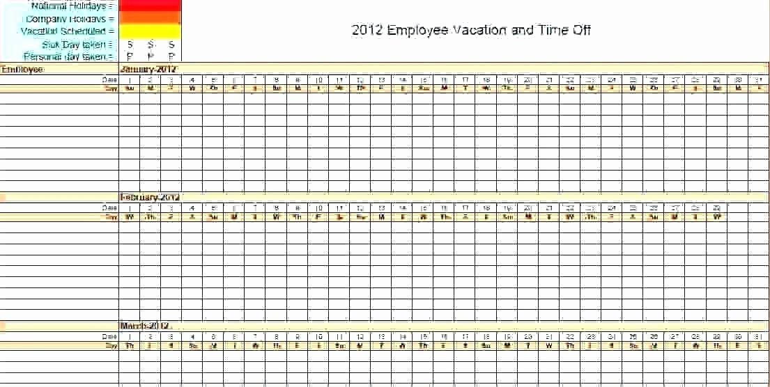 Vacation Calendar Template 2017 Lovely Employee Vacation Tracking Calendar Excel Template 2015
