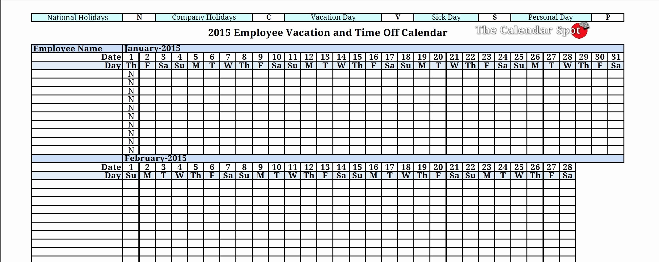 Vacation Calendar Template 2017 Luxury Free Vacation Calendar for Employees