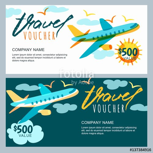 "Vacation Gift Certificate Template Awesome ""vector T Travel Voucher Template Multicolor Flying"