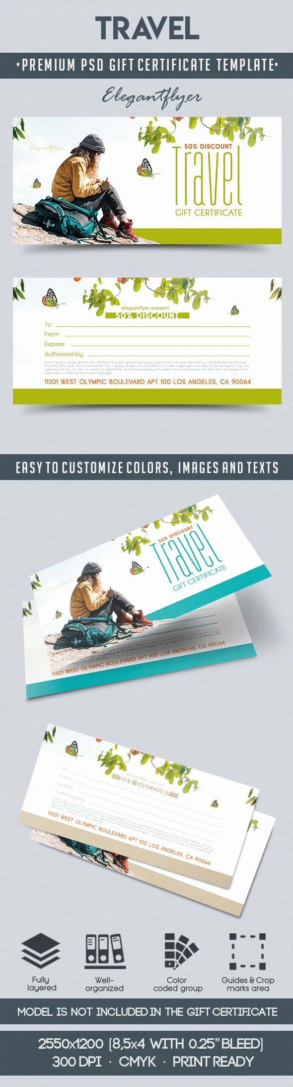 Vacation Gift Certificate Template Awesome Travel Gift Voucher Template In Psd – by Elegantflyer