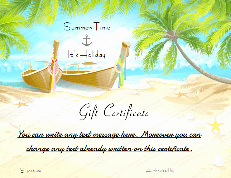 Vacation Gift Certificate Template Beautiful Printable Beach Holiday Gift Certificate Template