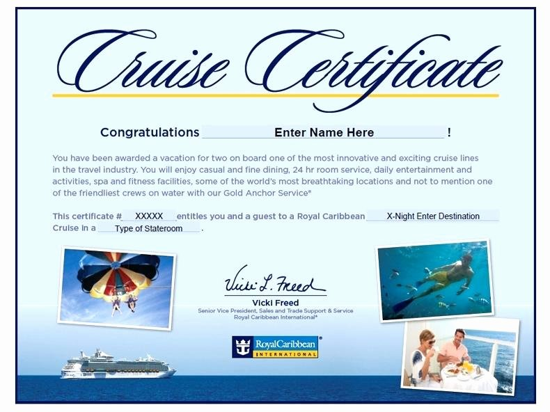 Vacation Gift Certificate Template Best Of Certificate Template Cruise Vacation Gift Certificates