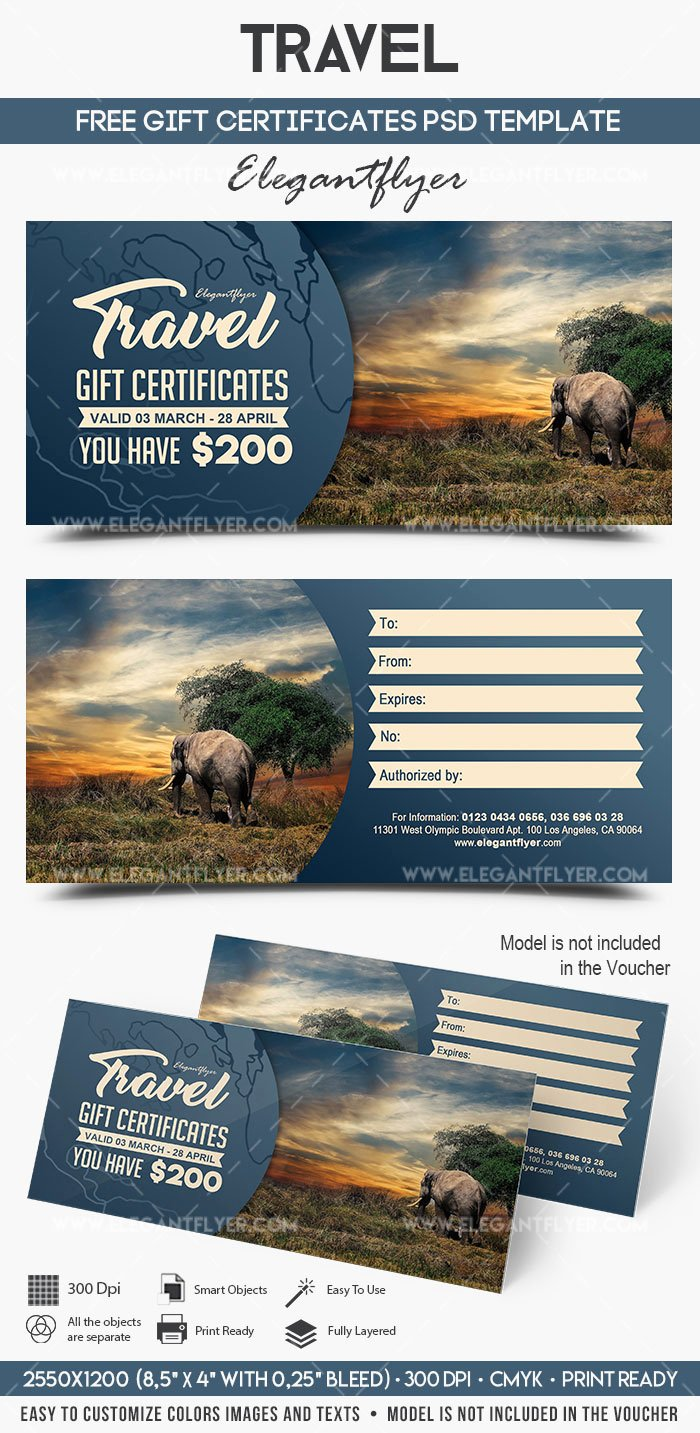 Vacation Gift Certificate Template Elegant Travel – Free Gift Certificate Psd Template – by Elegantflyer