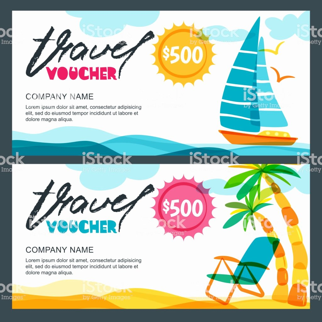 Vacation Gift Certificate Template Inspirational Vector Gift Travel Voucher Template Concept for Summer