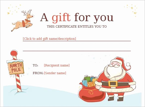 Vacation Gift Certificate Template Luxury Christmas Gift Certificate Template 11 Word Pdf