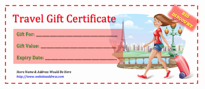 Vacation Gift Certificate Template Unique Travel Gift Certificate Template