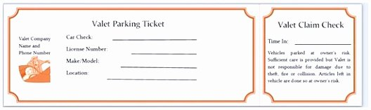 Valet Parking Ticket Template New 9 Printable Parking Ticket Template Eprot