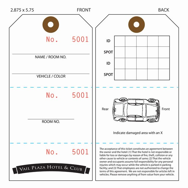 Valet Parking Ticket Template New Custom Printed Valet Ticket Parking Tags
