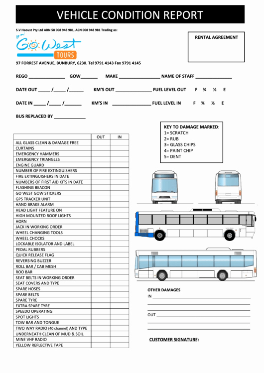 Vehicle Condition Report Template Best Of Vehicle Condition Report Printable Pdf