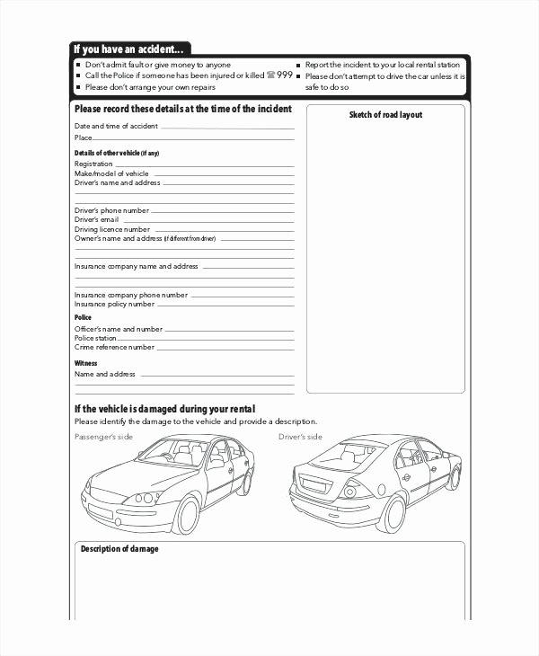 Vehicle Condition Report Template Elegant Car Condition form Vehicle Checklist Auto Damage