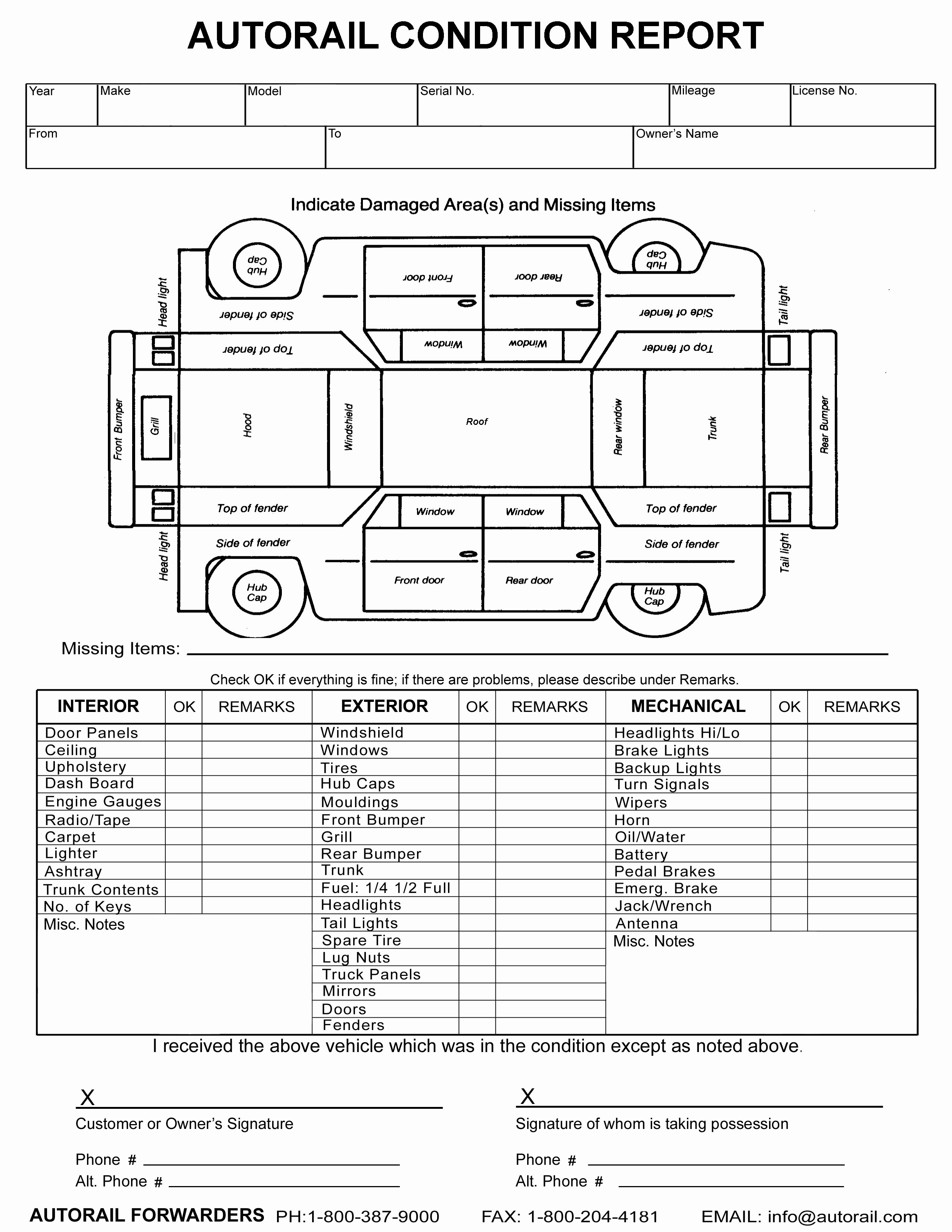 Vehicle Condition Report Template Inspirational form Vehicle Condition Report form Vehicle