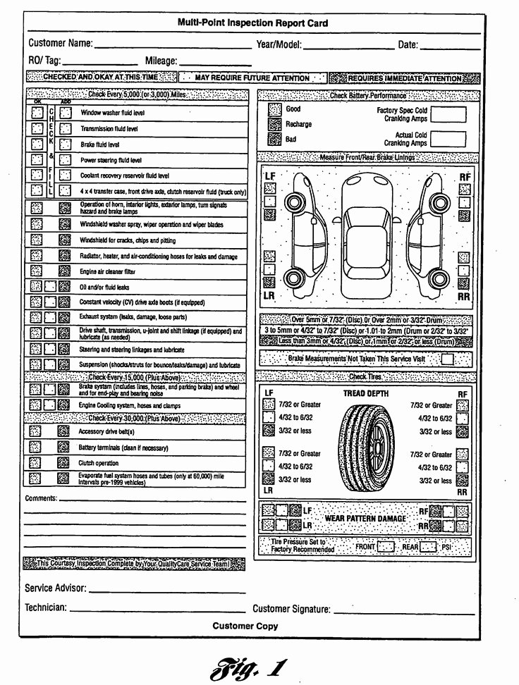 Vehicle Condition Report Template Inspirational Multi Point Inspection Report Card as Re Mended by ford
