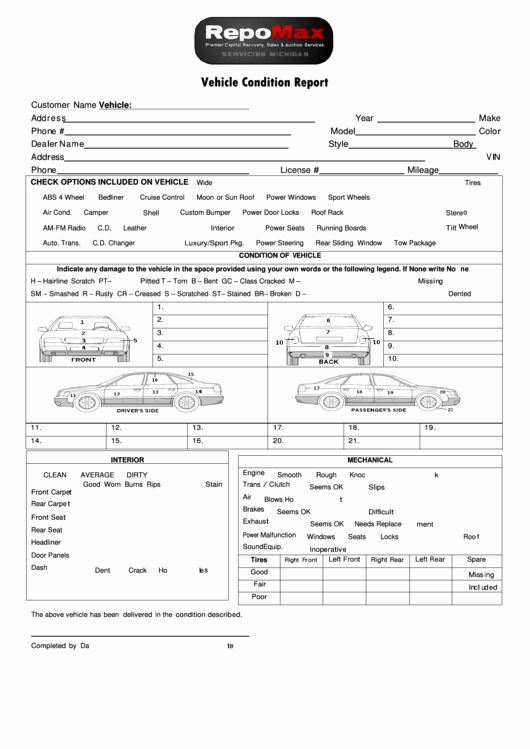 Vehicle Condition Report Template Luxury Vehicle Condition Report Template Printable Pdf