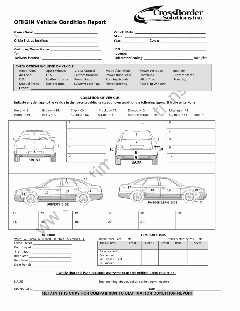 Vehicle Condition Report Template New Vehicle Inspection Report Template Free and Vehicle