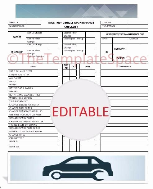 Vehicle Maintenance Checklist Template Awesome Editable Monthly Vehicle Maintenance Checklist Printable