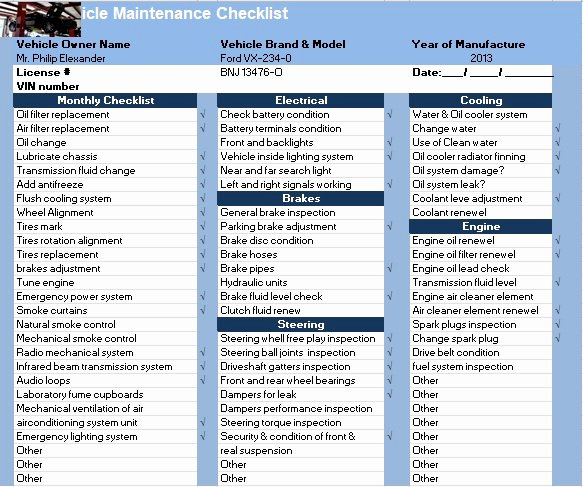 Vehicle Maintenance Checklist Template Awesome Vehicle Maintenance Checklist Template Excel Tmp