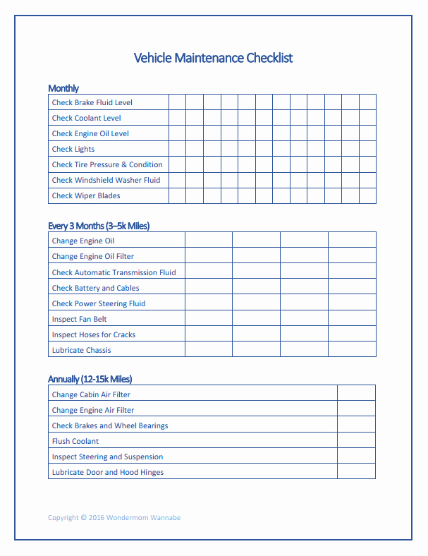 Vehicle Maintenance Checklist Template Inspirational Free Printable Car Maintenance Checklist