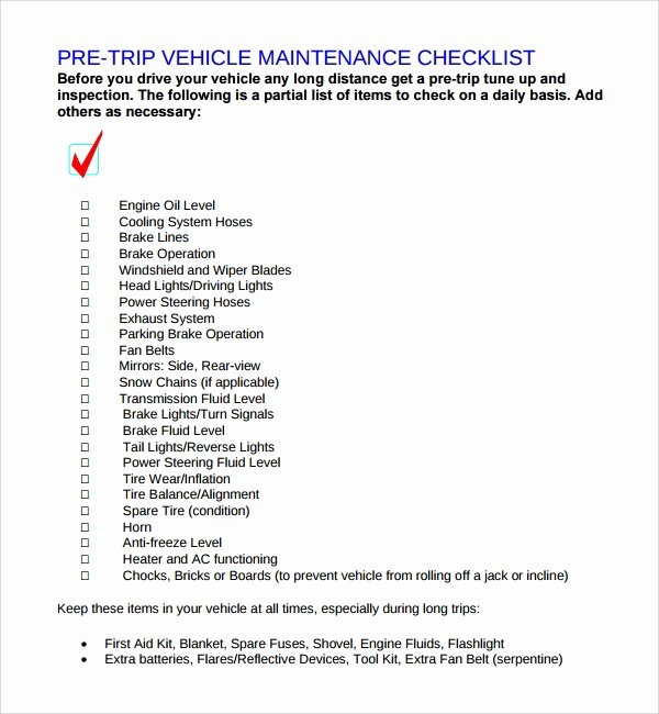 Vehicle Maintenance Checklist Template New 17 Maintenance Checklist Templates – Pdf Word Pages