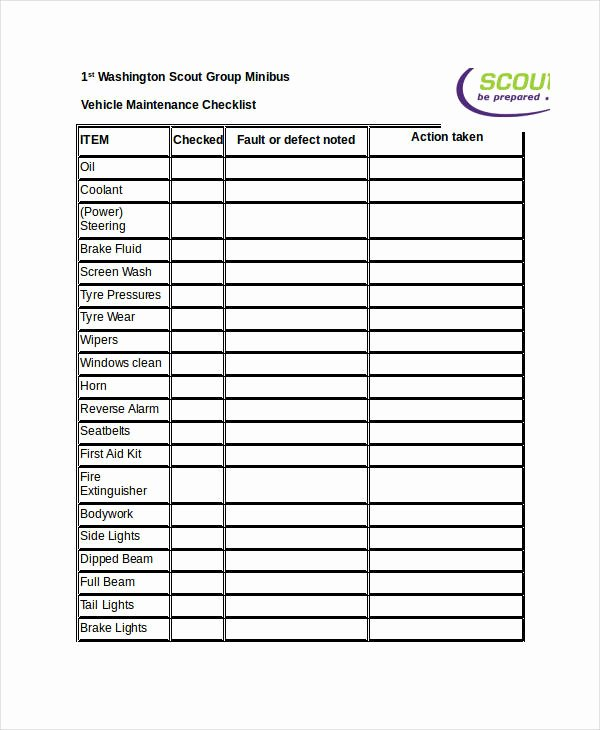 Vehicle Maintenance Checklist Template New 9 Maintenance Checklist Examples Samples