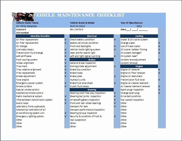 Vehicle Maintenance Checklist Template Unique General Vehicle Maintenance Checklist Template