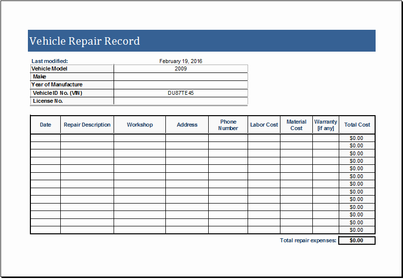 Vehicle Maintenance Log Excel Template Awesome Vehicle Repair Log Template for Ms Excel