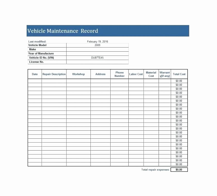 Vehicle Maintenance Log Excel Template Fresh Vehicle Log Sheet Car Sales Invoice Template and