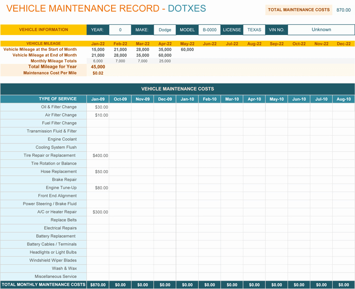 Vehicle Maintenance Log Excel Template Fresh Vehicle Maintenance Log Template for Excel Monthly Dotxes