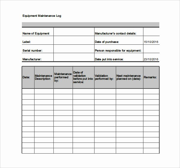 Vehicle Maintenance Log Excel Template Lovely Equipment Maintenance Schedule Template Excel