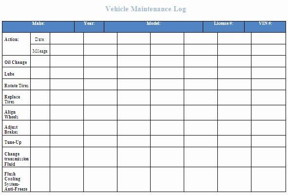 Vehicle Maintenance Log Excel Template Luxury Free Vehicle Maintenance Log Template for Excelml