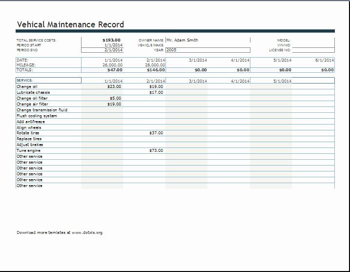 Vehicle Maintenance Log Excel Template Luxury Vehicle Maintenance or Service Record Log