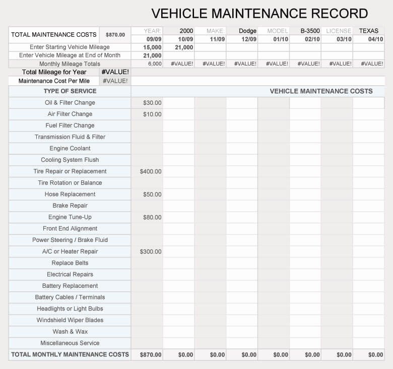 Vehicle Maintenance Log Excel Template New Free Vehicle Maintenance Log Service Sheet Templates