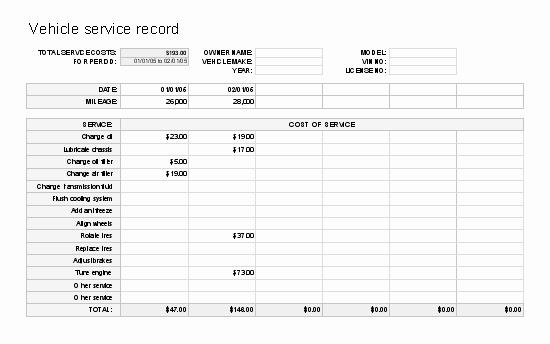 Vehicle Maintenance Log Excel Template New Vehicle Log format