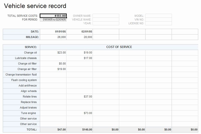 Vehicle Maintenance Log Excel Template New Vehicle Service Record Template Free Excel Templates and