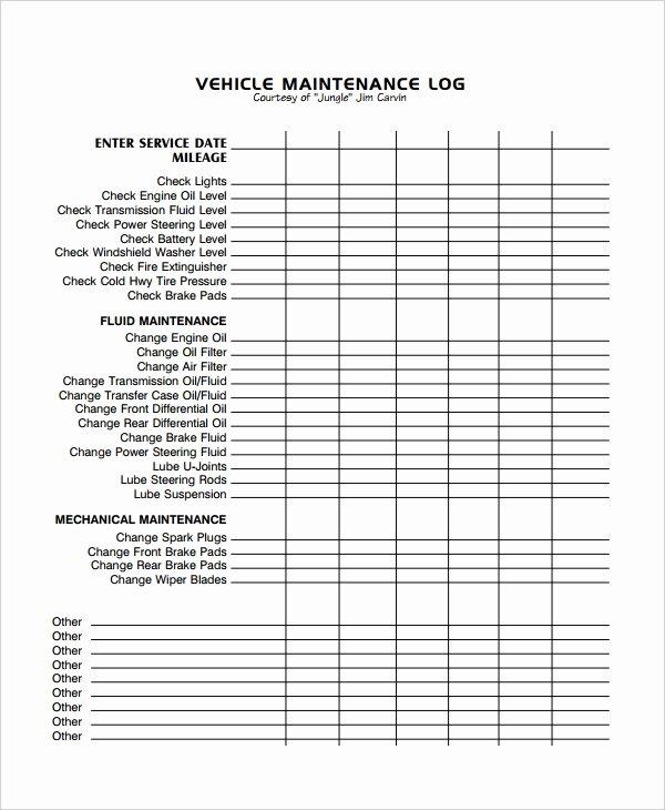 Vehicle Maintenance Log Excel Template Unique Maintenance Log Template 11 Free Word Excel Pdf