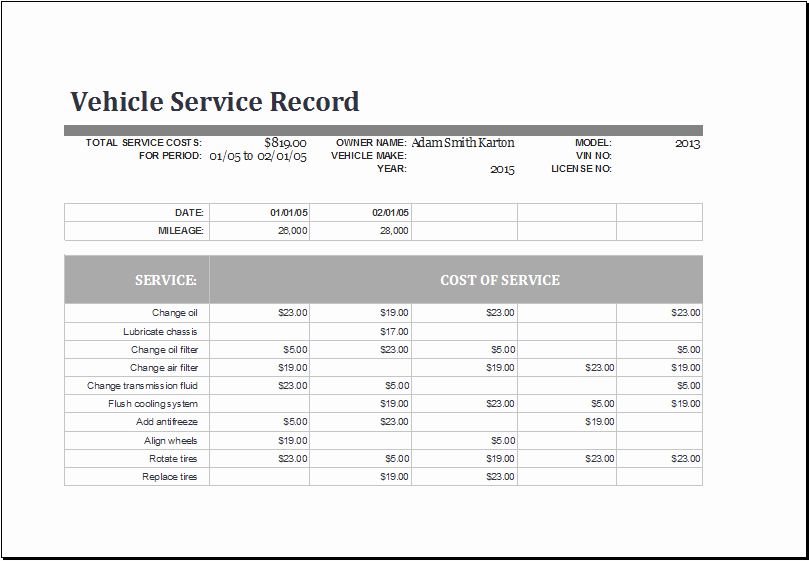 Vehicle Maintenance Schedule Template Beautiful Ms Excel Vehicle Service Record Log Template