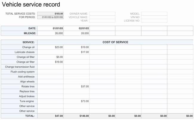 Vehicle Maintenance Schedule Template Elegant Printable Vehicle Maintenance Log Templates