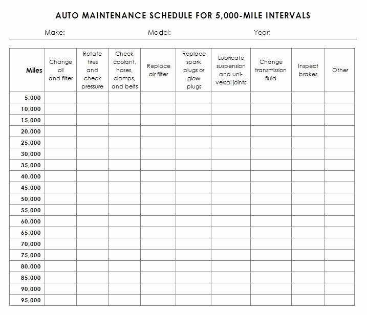 Vehicle Maintenance Schedule Template Excel Elegant Auto Maintenance Schedule Template